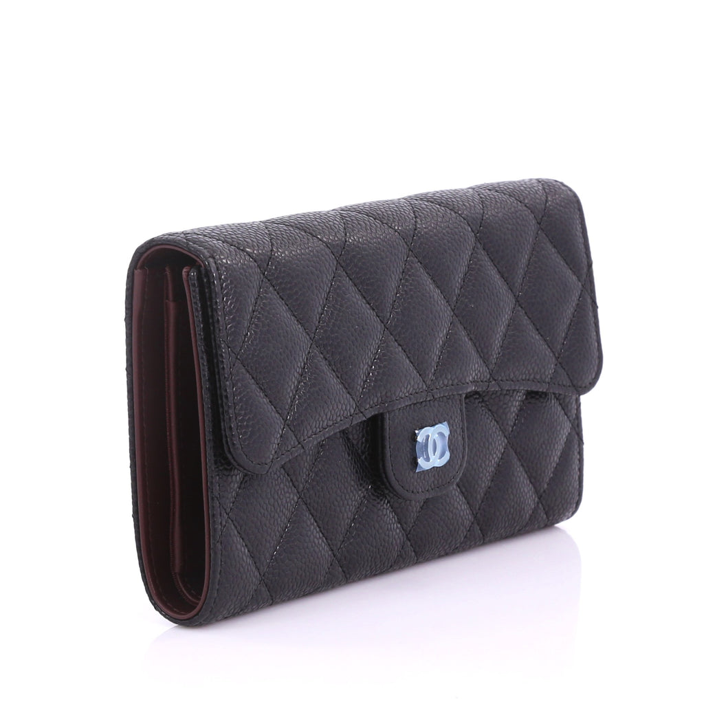 bfc819217472 Buy Chanel L-Flap Wallet Quilted Caviar Long Black 374713 – Rebag