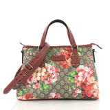 Gucci Convertible Tote Blooms Print GG Coated Canvas Small Brown 3747823
