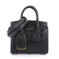 Alexander McQueen Heroine Tote Crocodile Embossed Leather Mini  374841