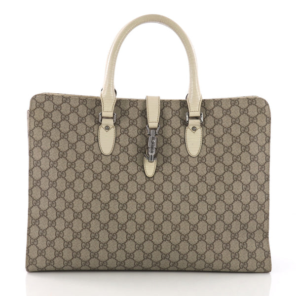6f0aef907878 Gucci Jackie Soft Tote GG Coated Canvas Large Neutral 375052 – Rebag