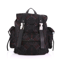 Valentino Double Buckle Backpack Love Blade Printed Nylon 375062