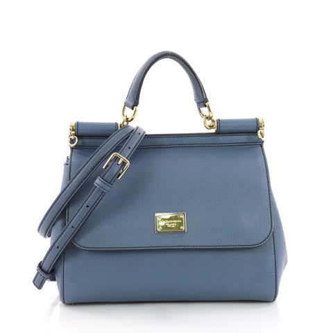 Dolce   Gabbana Miss Sicily Handbag Leather Medium Blue 375521 – Rebag 9be01165ab353