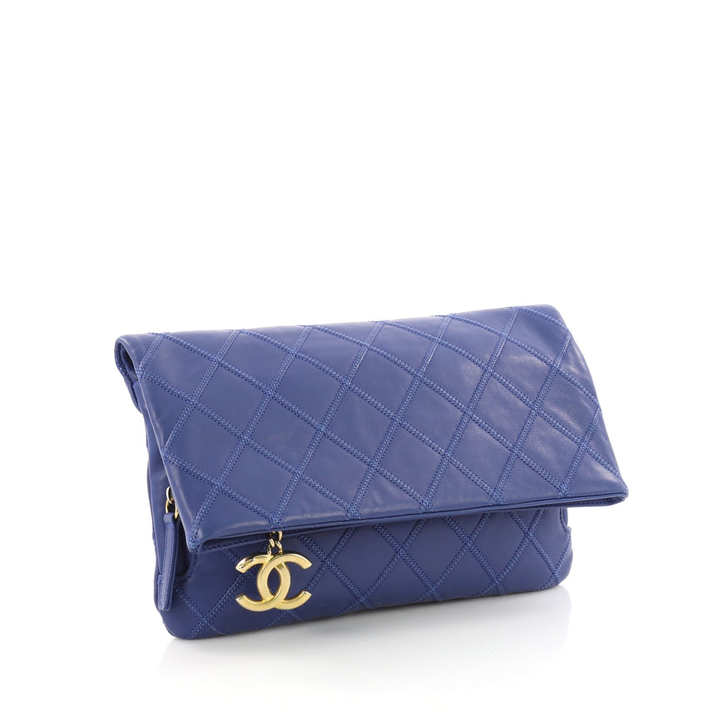 fe60f8aad43b Chanel Thin City Clutch Quilted Calfskin Small Blue 375561 – Rebag