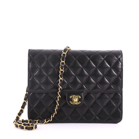 975b29e0953 Chanel Vintage Clutch with Chain Quilted Leather Small Black 375671 – Rebag