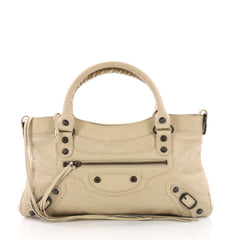Balenciaga First Giant Studs Handbag Leather Neutral 3757347