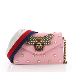 Gucci Broadway Pearly Bee Shoulder Bag Embellished Leather Mini Pink 375881
