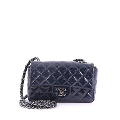 Chanel Classic Single Flap Bag Quilted Patent Mini Blue 3760511
