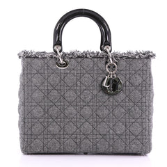 Christian Dior Lady Dior Handbag Cannage Quilt Tweed 3760514