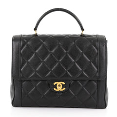Chanel Vintage Classic Top Handle Flap Bag Quilted Caviar 376059