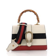 Gucci Dionysus Bamboo Top Handle Bag Colorblock Leather Medium White 376131