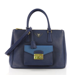 Front Pocket Double Zip Lux Tote Saffiano Leather Medium