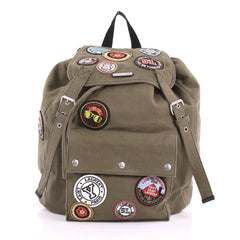 Saint Laurent Noe Backpack Canvas with Patches Large 376341