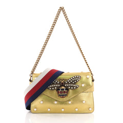 Gucci Broadway Pearly Bee Shoulder Bag Embellished 376625