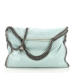 Stella McCartney Falabella Fold Over Bag Shaggy Deer Blue 376781