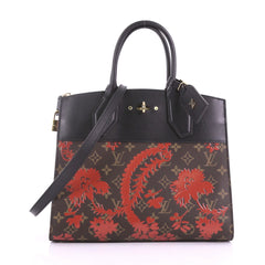 Louis Vuitton City Steamer Handbag Limited Edition Blossom Monogram Canvas and Leather MM Brown 37690/10