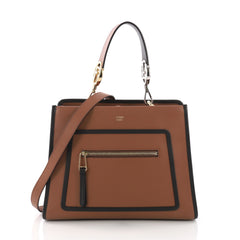 Fendi Runaway Handbag Leather Small Brown 3769012