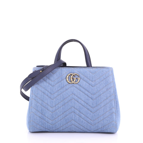 ab8481d8ee11 Gucci Pearly GG Marmont Tote Matelasse Denim Small Blue 3769027 – Rebag