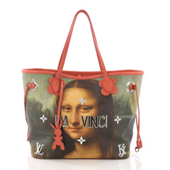 Louis Vuitton Model: Neverfull NM Tote Limited Edition Jeff Koons Da Vinci Print Canvas MM Pink 37690/37