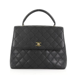 Chanel Vintage Classic Top Handle Flap Bag Quilted Caviar Jumbo 376904