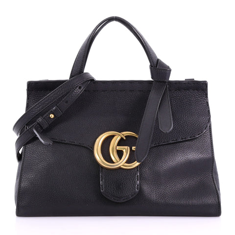b75742c2ea650 Buy Gucci GG Marmont Top Handle Bag Leather Small Black 376971 – Rebag