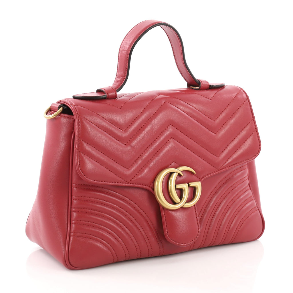 696966b3ddc Gucci GG Marmont Top Handle Flap Bag Matelasse Leather Small 376972 ...