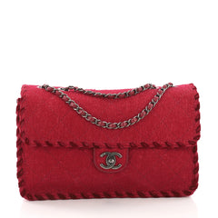Chanel Fancy Flap Bag Quilted Felt Jumbo Red 376981