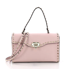 Valentino Rockstud Flip Lock Top Handle Bag Leather Small Pink 3770836