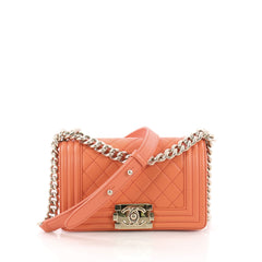 Chanel Boy Flap Bag Quilted Lambskin Small Orange 3770837