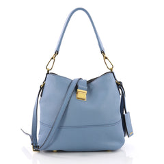Miu Miu Madras Convertible Hobo Leather Small Blue 3770847