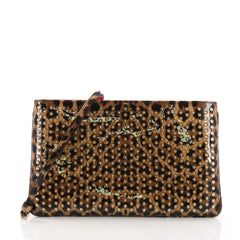 Christian Louboutin Loubiposh Clutch Printed Spiked Patent Yellow 3770850