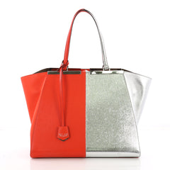 Fendi Bicolor 3Jours Handbag Leather Large Orange 377085