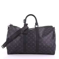 Louis Vuitton Model: Keepall Bandouliere Bag Monogram Eclipse Canvas Black 45