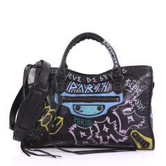Balenciaga City Graffiti Classic Studs Handbag Leather Medium Black 3770876