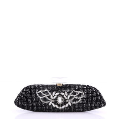 Chanel Model: Perfume Bottle Evening Clutch Rhinestone Embellished Tweed Black 37710/10