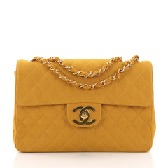 Chanel Vintage Classic Single Flap Bag Quilted Coated Canvas Maxi 377183