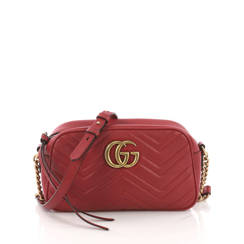 ad7ae9ed55f Gucci GG Marmont Shoulder Bag Matelasse Leather Small Red 377211 – Rebag