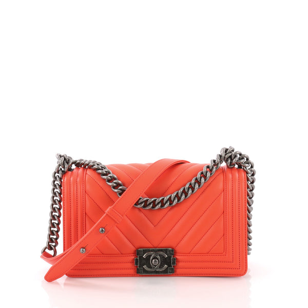 fc449791c581 Chanel Boy Flap Bag Chevron Lambskin Old Medium Orange 3774810 – Rebag