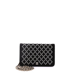 Chanel Wallet on Chain Pearl Embellished Velvet Black 3774813