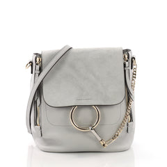 Chloe Faye Backpack Leather and Suede Medium Blue 377482