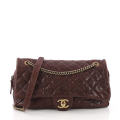 Chanel Easy Flap Bag Quilted Caviar Jumbo Brown 377561