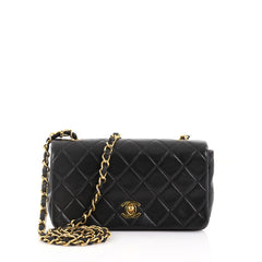 Chanel Vintage Full Flap Bag Quilted Lambskin Mini 377751
