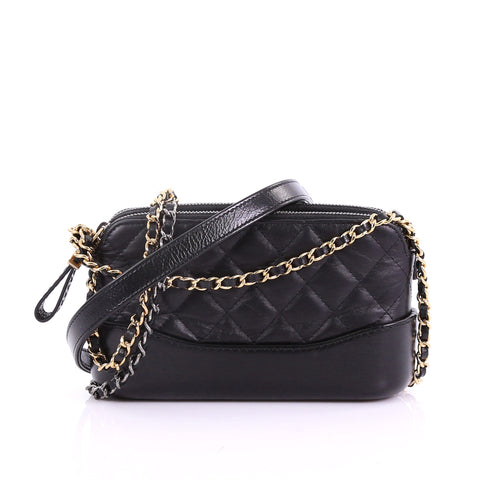 c746fa7712d61e Chanel Gabrielle Double Zip Clutch with Chain Quilted Aged 377981 – Rebag