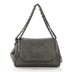 Chanel Timeless Accordion Flap Bag Quilted Caviar Gray 378063