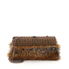 Chanel CC Clasp Frame Clutch Fur and Tweed Small Brown 3782942