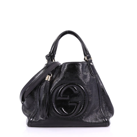 dd81e0ba585 Gucci Soho Convertible Shoulder Bag Patent Small Black 3782978 – Rebag