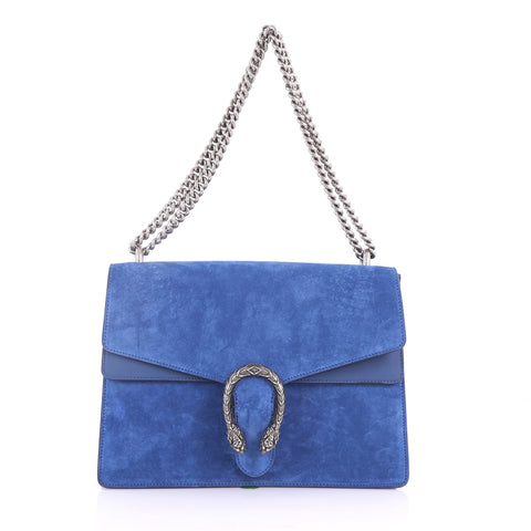 b546a5225cf7 Gucci Dionysus Handbag Suede Medium Blue 378331 – Rebag