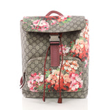 Buckle Backpack Blooms Print GG Coated Canvas Medium