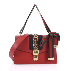 Gucci Sylvie Shoulder Bag Leather Small Red 378451