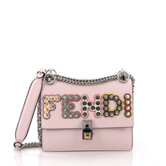 Fendi Kan I Handbag Embellished Applique Leather Small 378532