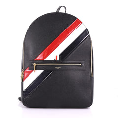 Thom Browne Classic Backpack Striped Leather Large Black 378552